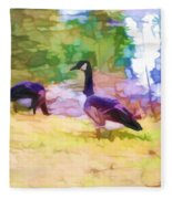 Canadian Geese In The Park 3 Fleece Blanket