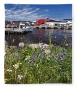 Canadian Harbor On A Sunny Day Fleece Blanket