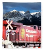 Canadian Pacific Trail Slices Through The Rockies Fleece Blanket