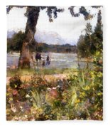 Canadian Sunday Out By The Lake Fleece Blanket