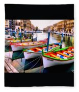 Canal Boats On A Canal In Venice L A S Fleece Blanket