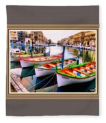 Canal Boats On A Canal In Venice L A S With Decorative Ornate Printed Frame.  Fleece Blanket