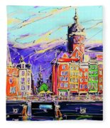 Canal Of Amsterdam, Storm Is Comming Fleece Blanket