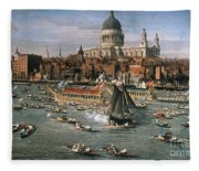 Canaletto: Thames, 18th C Fleece Blanket