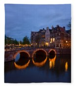 Canals Of Amsterdam At Night Fleece Blanket