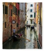 Canals Of Venice Italy Fleece Blanket