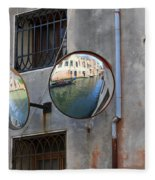 Canals Reflected In Mirrors In Venice Italy Fleece Blanket