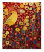 Canary In Red Fleece Blanket