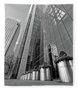 Canary Wharf Financial District In Black And White Fleece Blanket