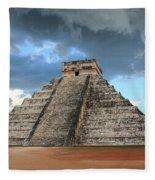 Cancun Mexico - Chichen Itza - Temple Of Kukulcan-el Castillo Pyramid 3  Fleece Blanket
