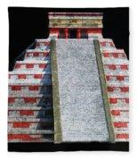 Cancun Mexico - Chichen Itza - Temple Of Kukulcan-el Castillo Pyramid Night Lights 1 Fleece Blanket