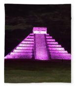 Cancun Mexico - Chichen Itza - Temple Of Kukulcan-el Castillo Pyramid Night Lights 2 Fleece Blanket