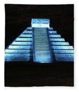 Cancun Mexico - Chichen Itza - Temple Of Kukulcan-el Castillo Pyramid Night Lights 3 Fleece Blanket