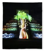 Cancun Mexico - Chichen Itza - Temple Of Kukulcan-el Castillo Pyramid Night Lights 5 Fleece Blanket