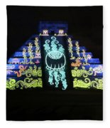 Cancun Mexico - Chichen Itza - Temple Of Kukulcan-el Castillo Pyramid Night Lights 6 Fleece Blanket