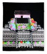 Cancun Mexico - Chichen Itza - Temple Of Kukulcan-el Castillo Pyramid Night Lights 8 Fleece Blanket