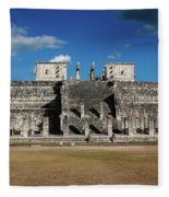 Cancun Mexico - Chichen Itza - Temple Of The Warriors Fleece Blanket