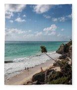 Cancun Mexico - Tulum Ruins - Caribbean Beach Fleece Blanket