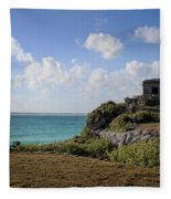 Cancun Mexico - Tulum Ruins - Temple For God Of The Wind 1 Fleece Blanket