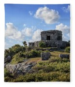 Cancun Mexico - Tulum Ruins - Temple For God Of The Wind 2 Fleece Blanket