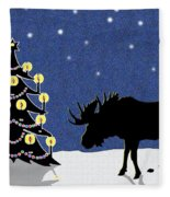 Candlelit Christmas Tree And Moose In The Snow Fleece Blanket