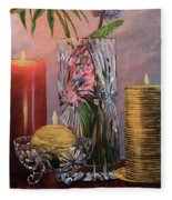 Candlelit Lupins Fleece Blanket