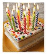 Candles On Birthday Cake Fleece Blanket