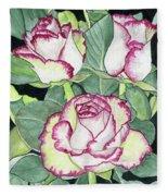 Candy Cane Roses Fleece Blanket