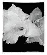 Canna Lily In Black And White Fleece Blanket