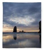Cannon Beach At Sunset 5 Fleece Blanket