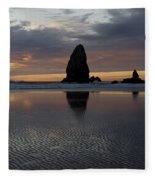 Cannon Beach At Sunset 7 Fleece Blanket