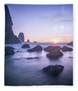 Cannon Beach Rocks Sunset Fleece Blanket