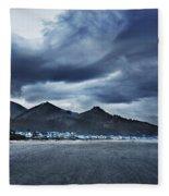 Cannon Beach Under Clouds Fleece Blanket