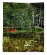 Canoe Among The Reeds Fleece Blanket