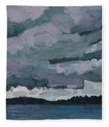 Canoe Lake Rain Clouds Fleece Blanket