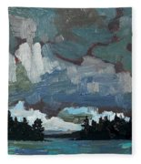 Canoe Lake Rain Fleece Blanket