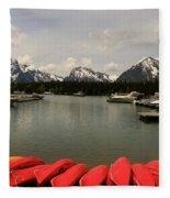 Canoe Meeting At Jackson Lake Fleece Blanket