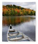 Canoe On A Lake Fleece Blanket