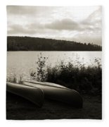 Canoe On A Shore Of A Lake At Dawn Fleece Blanket