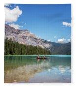Canoe On Emerald Lake British Columbia Fleece Blanket