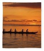 Canoe Paddlers Silhouette Fleece Blanket