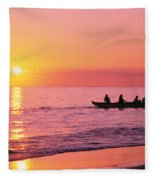 Canoe Paddlers Fleece Blanket