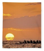 Canoeing At Sunset Fleece Blanket