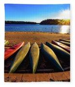 Canoes At Sunset Fleece Blanket