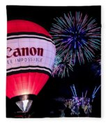 Canon - See Impossible - Hot Air Balloon With Fireworks Fleece Blanket