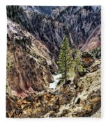 Canyon And Lower Falls Fleece Blanket