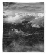 Canyon In Clouds Bw Fleece Blanket