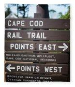 Cape Cod Rail Trail Sign Eastham Fleece Blanket