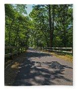 Cape Cod Rail Trail Trees Eastham Ma Fence Fleece Blanket