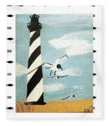 Cape Hatteras Lighthouse - Fish Border Fleece Blanket